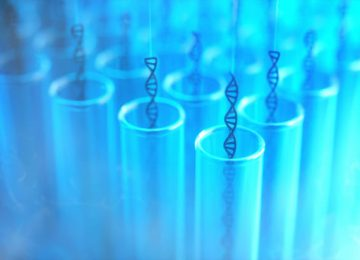 3D illustration. Several dna being withdrawn from the test tubes. Concept image of genetic cloning.